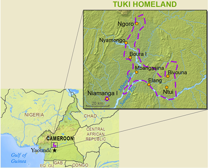 Map of Betsinga, Sanaga in Cameroon