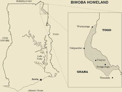 Map of Bimoba, Moba in Ghana