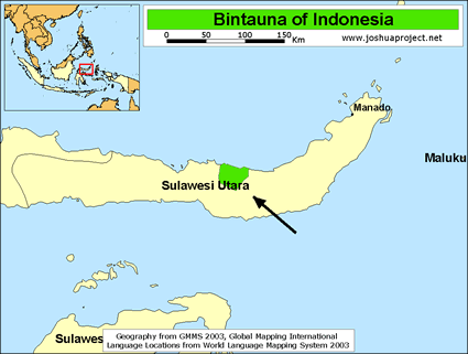 Map of Bintauna in Indonesia