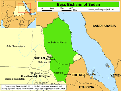 Map of Beja, Bisharin in Sudan