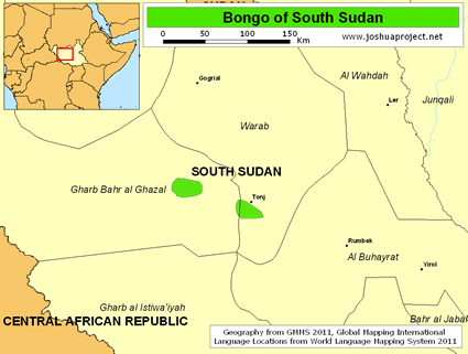 Map of Bongo in South Sudan