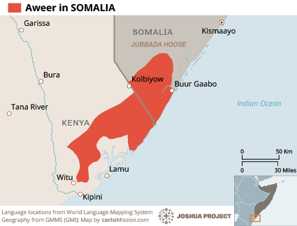 Map of Aweer in Somalia
