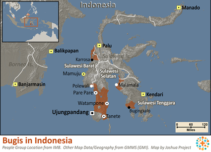 Map of Bugis in Indonesia