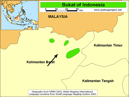 Map of Bukat in Indonesia