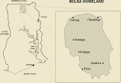 Map of Builsa, Buli in Ghana