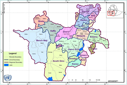 Map of Burji in Ethiopia