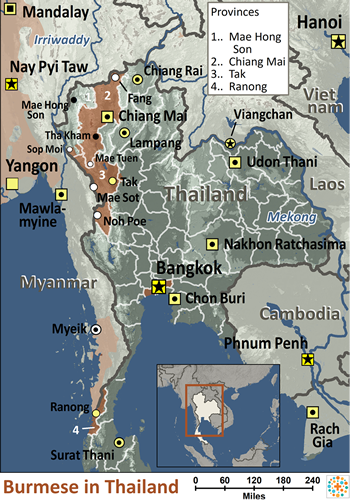 Map of Burmese in Thailand