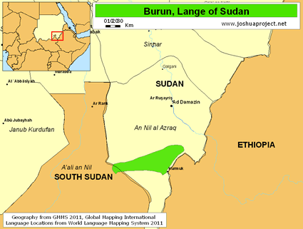 Map of Burun, Lange in Sudan