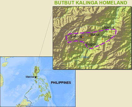 Map of Kalinga, Butbut in Philippines