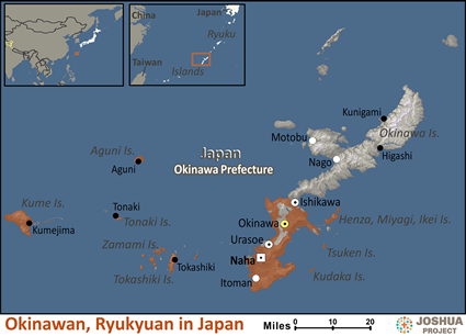 Map of Okinawan, Ryukyuan in Japan