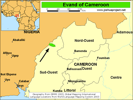 Evand in cameroon joshua project evand in cameroon map ccuart Choice Image
