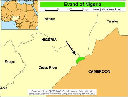 Map of Evand in Nigeria