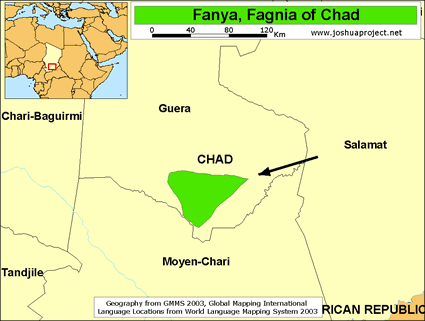 Map of Fanya in Chad