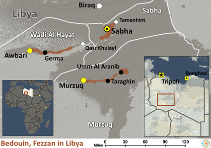 Map of Bedouin, Fezzan in Libya