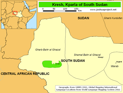 Map of Kresh, Kparla in South Sudan