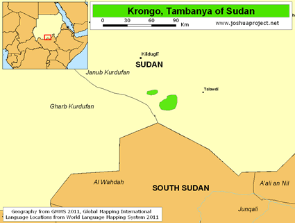 Map of Krongo, Tabanya in Sudan
