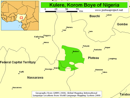 Map of Kulere, Korom Boye in Nigeria