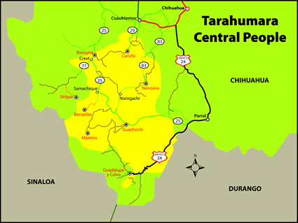 Tarahumara, Central in Mexico