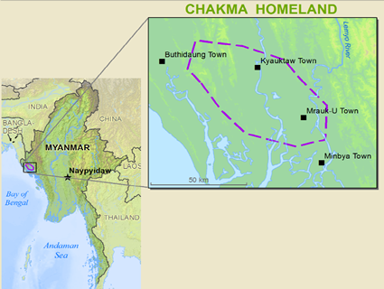 Map of Chakma in Myanmar (Burma)