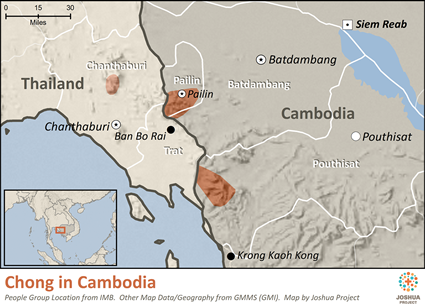 Map of Chong in Cambodia