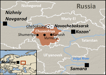 Map of Chuvash, Bolgar in Russia