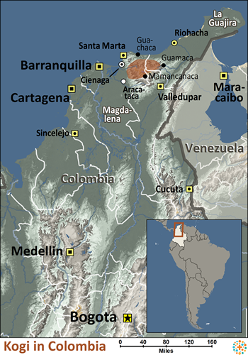 Map of Kogi in Colombia