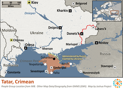 Map of Tatar, Crimean in Russia