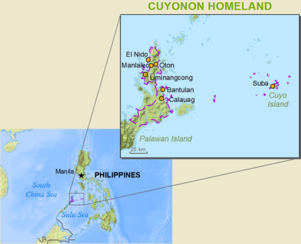 Map of Cuyonon in Philippines