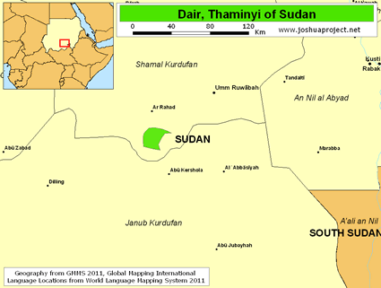 Map of Dair, Thaminyi in Sudan