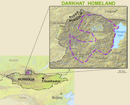 Map of Darkhad in Mongolia