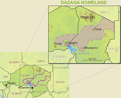 Map of Daza in Niger