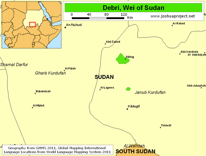 Map of Debri, Wei in Sudan
