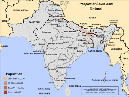 Map of Dhimal in India