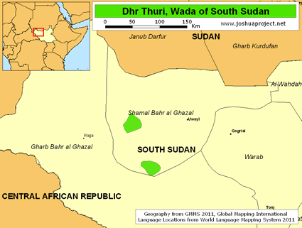 Map of Dhr Thuri, Wada in South Sudan