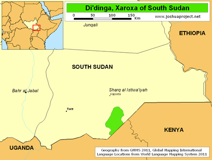 Map of Di'dinga, Xaroxa in South Sudan