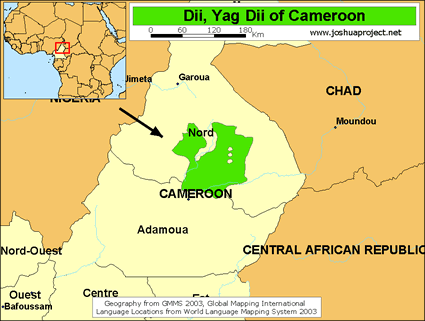 Map of Dii, Yag Dii in Cameroon
