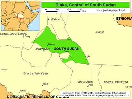 Map of Dinka, Central in South Sudan