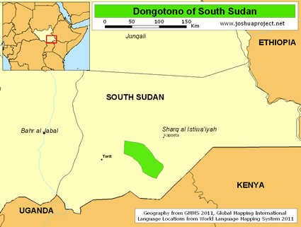 Map of Dongotono in South Sudan
