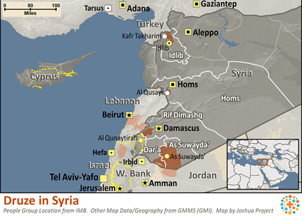 Map of Druze in Syria