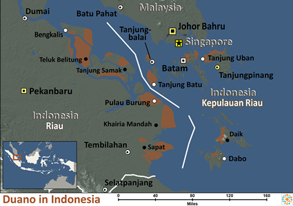 Map of Duano in Indonesia