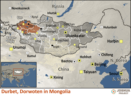 Map of Durbet, Dorwoten in Mongolia