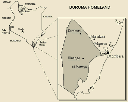 Map of Mijikenda, Duruma in Kenya