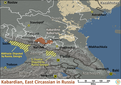 Map of Kabardian, East Circassian in Russia