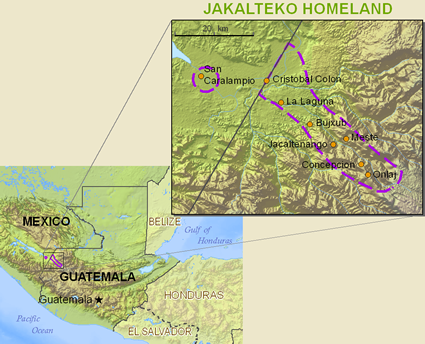 Map of Jacalteco in Guatemala