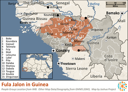 Map of Fula Jalon in Guinea