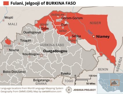 Map of Fulani, Jelgooji in Burkina Faso