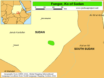 Map of Fungor in Sudan