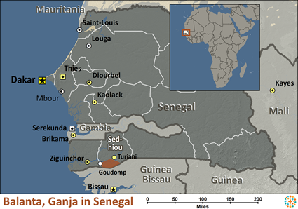 Map of Balanta, Ganja in Senegal