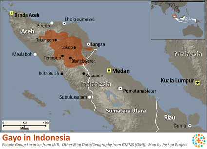 Map of Gayo in Indonesia