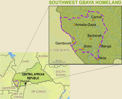 Map of Gbaya, Southwest in Central African Republic